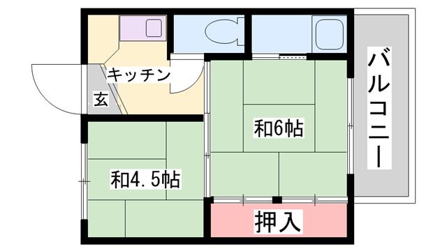 物件番号: 1119489396  加古川市志方町上富木 2K マンション 間取り図