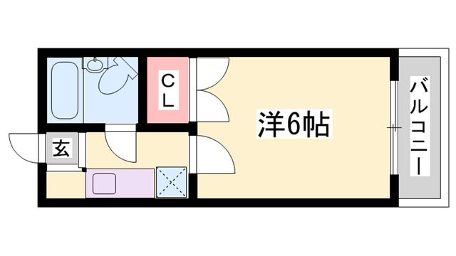 物件番号: 1119489430  姫路市飾西台 1K ハイツ 間取り図