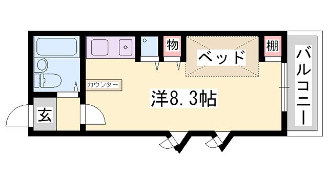 物件番号: 1119489458  姫路市東辻井4丁目 1R ハイツ 間取り図