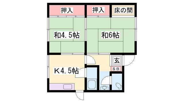 物件番号: 1119489495  姫路市西庄 2K 貸家 間取り図