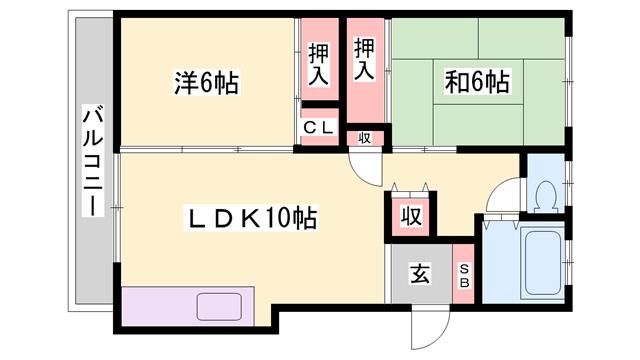 物件番号: 1119489523  姫路市西庄 2LDK マンション 間取り図