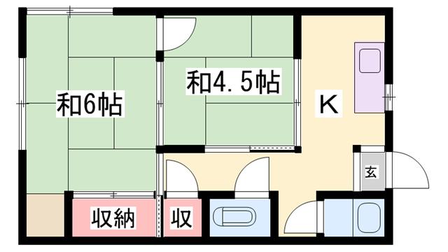 物件番号: 1119489636  姫路市幸町 2K アパート 間取り図