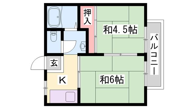 物件番号: 1119489693  加古川市加古川町北在家 2K ハイツ 間取り図