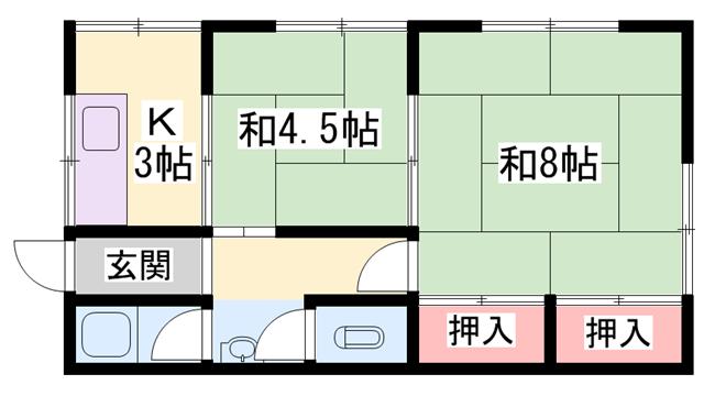 物件番号: 1119489694  加古川市尾上町養田 2K ハイツ 間取り図