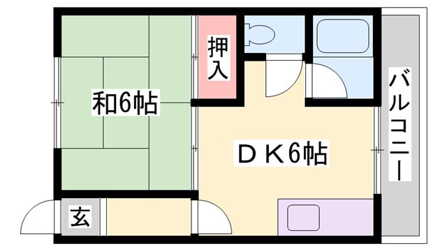 物件番号: 1119489701  加古川市尾上町養田 1DK ハイツ 間取り図