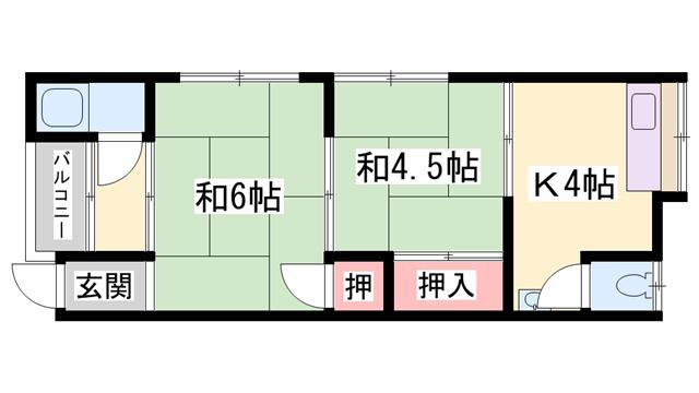 物件番号: 1119489703  加古郡播磨町南大中2丁目 2K ハイツ 間取り図