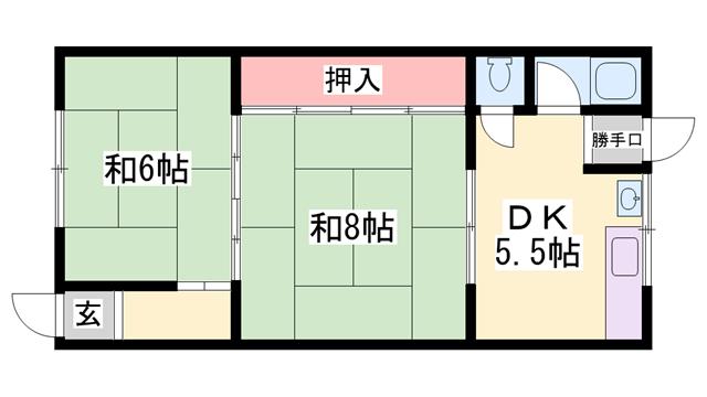 物件番号: 1119489738  加古川市尾上町養田 2DK ハイツ 間取り図