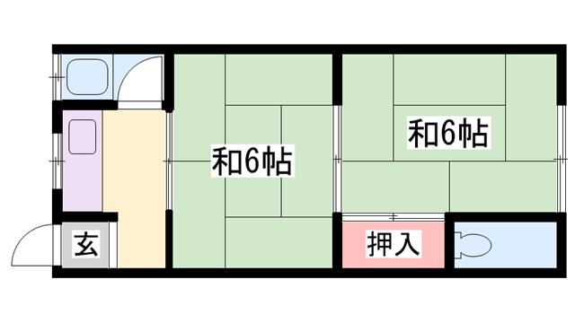 物件番号: 1119489745  加古川市尾上町養田 2K ハイツ 間取り図