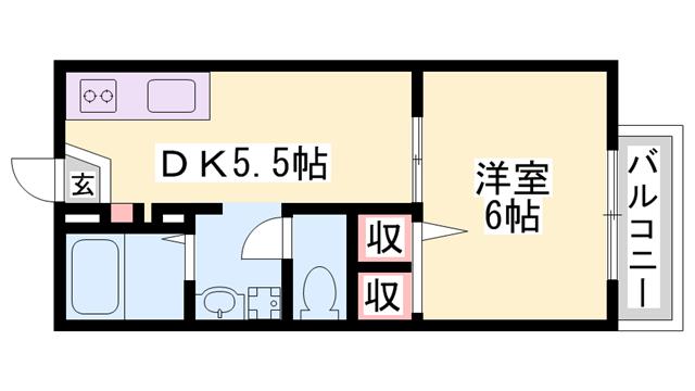 物件番号: 1119489764  姫路市御立西2丁目 1DK アパート 間取り図