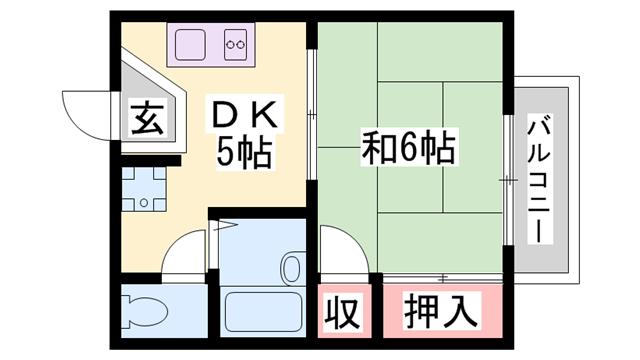 物件番号: 1119489935  加東市山国 1DK アパート 間取り図