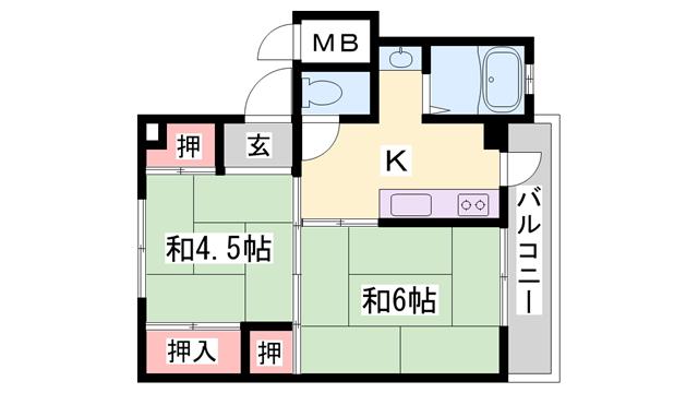 物件番号: 1119490013  加古川市尾上町長田 2K マンション 間取り図