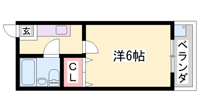 物件番号: 1119490082  加東市山国 1K アパート 間取り図