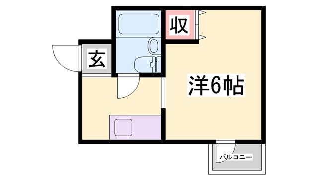 物件番号: 1119490312  姫路市野里寺町 1R マンション 間取り図
