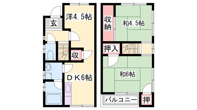 物件番号: 1119490355  姫路市生野町 3DK 貸家 間取り図