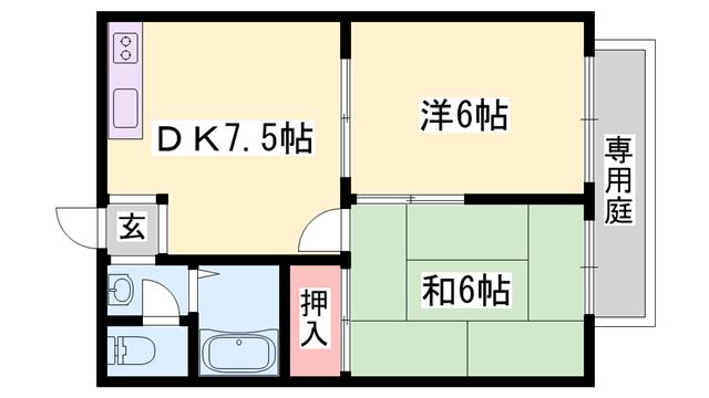 物件番号: 1119490385  姫路市大津区新町1丁目 2DK ハイツ 間取り図