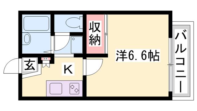 物件番号: 1119490429  相生市旭3丁目 1K アパート 間取り図