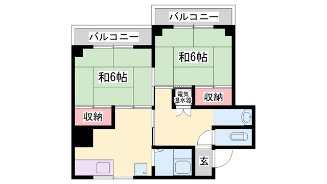 物件番号: 1119490445  姫路市南今宿 2K マンション 間取り図