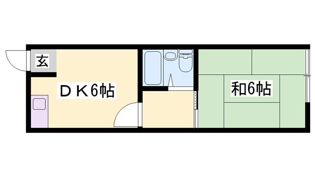 物件番号: 1119490505  姫路市八代宮前町 1DK ハイツ 間取り図