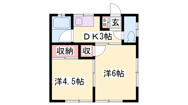 物件番号: 1119490541  姫路市飾磨区構 2DK アパート 間取り図