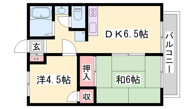 物件番号: 1119490715  加古川市平岡町二俣 2DK ハイツ 間取り図