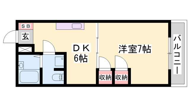 物件番号: 1119490786  姫路市大津区真砂町 1DK マンション 間取り図