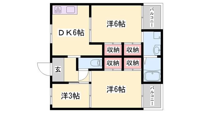 物件番号: 1119490798  西脇市野村町 3DK マンション 間取り図