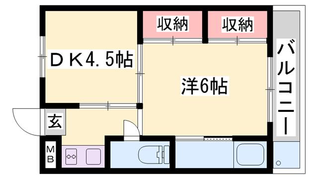 物件番号: 1119490799  姫路市飾磨区今在家 1DK マンション 間取り図