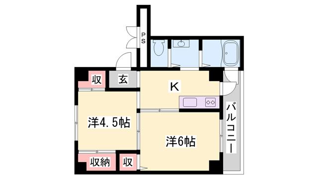物件番号: 1119490816  小野市粟生町 2K マンション 間取り図