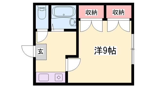 物件番号: 1119490829  姫路市北今宿3丁目 1K ハイツ 間取り図