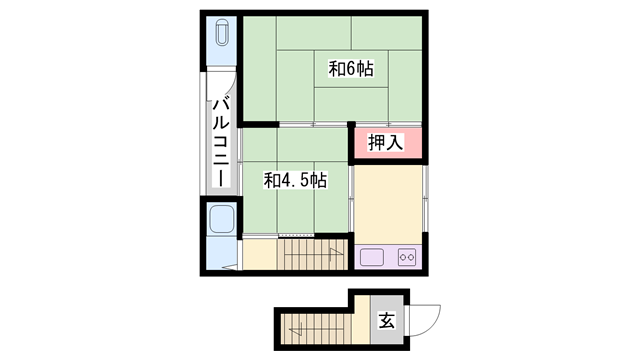 物件番号: 1119490841  姫路市伊伝居 2K ハイツ 間取り図
