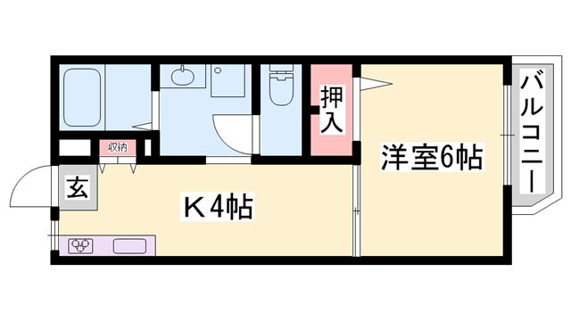 物件番号: 1119490880  姫路市上大野6丁目 1K ハイツ 間取り図