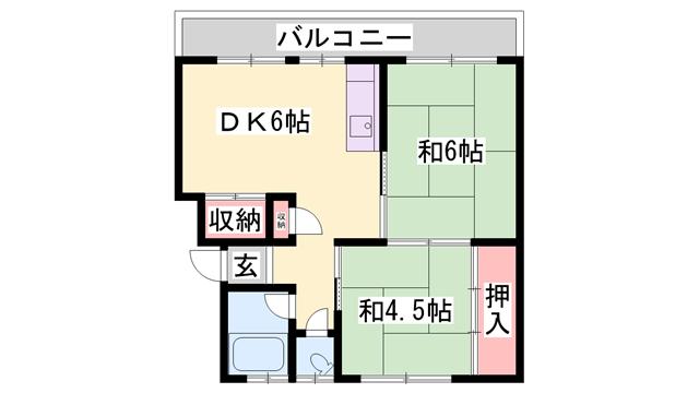 物件番号: 1119490885  加古川市野口町長砂 3K マンション 間取り図