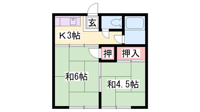 物件番号: 1119490893  加古川市平岡町新在家 2K アパート 間取り図