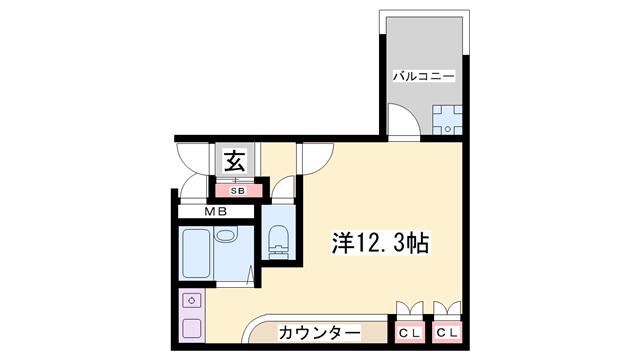 物件番号: 1119490963  姫路市西夢前台2丁目 1R マンション 間取り図