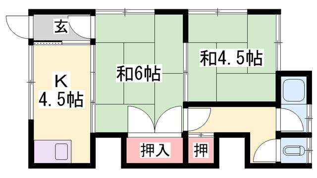 物件番号: 1119491063  姫路市八代東光寺町 2K ハイツ 間取り図