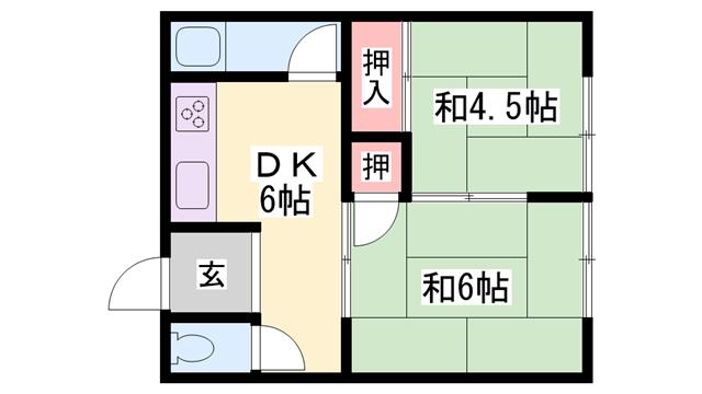 物件番号: 1119491065  加古川市西神吉町大国 2DK ハイツ 間取り図
