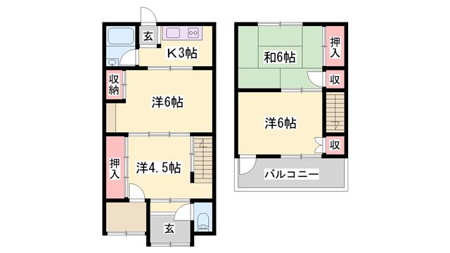物件番号: 1119491096  姫路市青山西1丁目 4K テラスハウス 間取り図