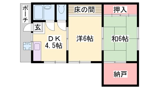 物件番号: 1119491206  姫路市余部区上余部 2DK アパート 間取り図