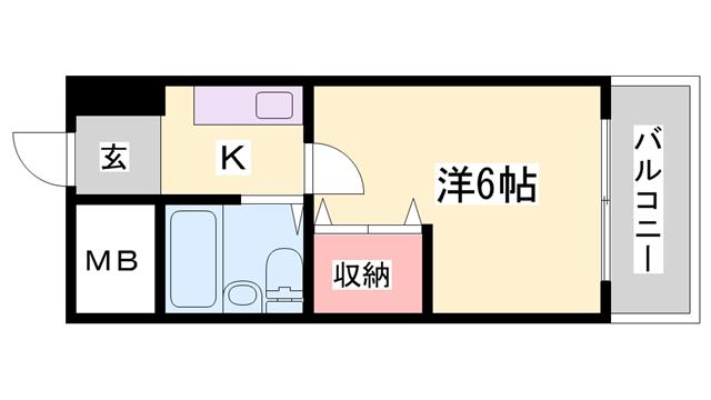 物件番号: 1119491245  姫路市龍野町3丁目 1K マンション 間取り図
