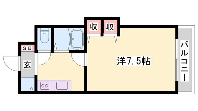 物件番号: 1119491268  姫路市保城 1K マンション 間取り図