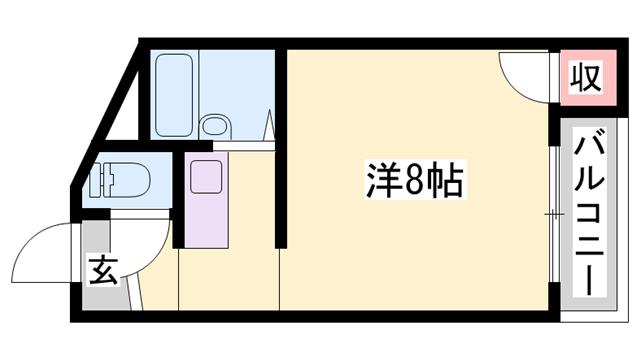 物件番号: 1119491284  姫路市白国3丁目 1K マンション 間取り図