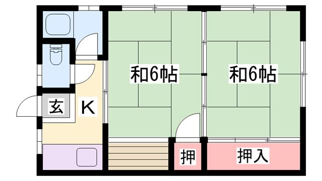 物件番号: 1119491290  加古川市尾上町口里 2K ハイツ 間取り図