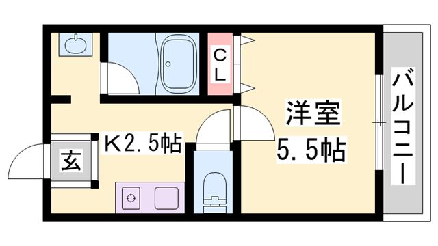 物件番号: 1119491308  神崎郡福崎町福田 1K マンション 間取り図