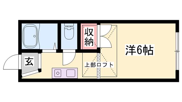物件番号: 1119491378  加古川市別府町本町2丁目 1R アパート 間取り図