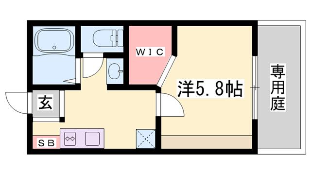 物件番号: 1119491404  姫路市御立東5丁目 1K ハイツ 間取り図
