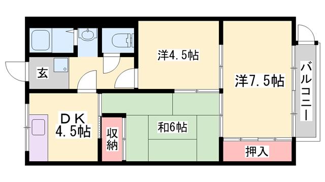 物件番号: 1119491464  姫路市御立西2丁目 3DK マンション 間取り図