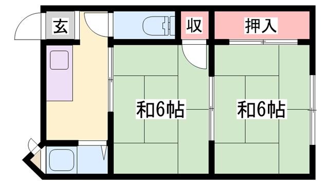 物件番号: 1119491469  姫路市増位本町2丁目 2K マンション 間取り図