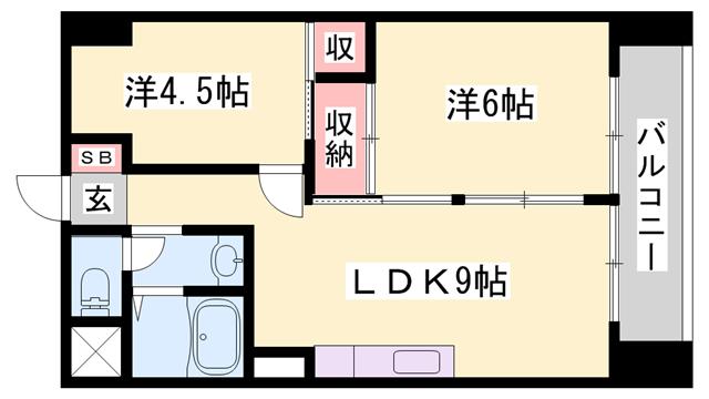 物件番号: 1119491479  姫路市広畑区西夢前台4丁目 2LDK マンション 間取り図
