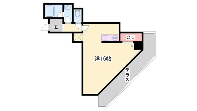 物件番号: 1119491544  姫路市南今宿 1R マンション 間取り図