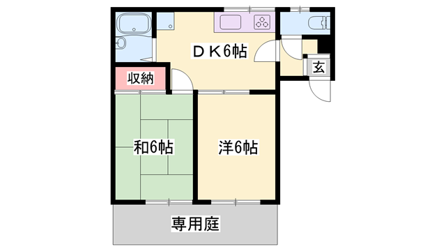 物件番号: 1119491564  たつの市揖保川町黍田 2DK ハイツ 間取り図
